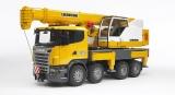 Jucarie Camion cu macara Scania R-Series Liebherr cu lumini si sunete Bruder