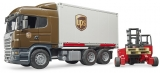 Jucarie Camion UPS Scania R-Series si stivuitor Bruder