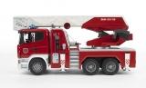 Jucarie Camion de pompieri Scania R-Series cu scara, pompa de apa si sirena Bruder