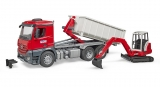 Jucarie Camion cu container Mercedes Benz Arocs si mini excavator Schaeff Bruder