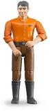 Jucarie Figurina barbat cu pantaloni maro Bruder