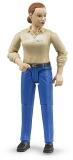 Jucarie Figurina femeie cu pantaloni albastri Bruder