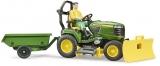 Set de joaca Tractor cu remorca John Deere si gradinar Bruder