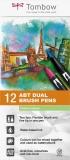Marker caligrafic 2 in 1, ABT Dual Brush Pen, Pastel Colours, 12 culori/set Tombow