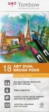 Marker caligrafic 2 in 1, ABT Dual Brush Pen, Secondary Colours, 18 culori/set Tombow