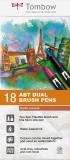 Marker caligrafic 2 in 1, ABT Dual Brush Pen, Earth Colours, 18 culori/set Tombow
