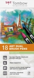 Marker caligrafic 2 in 1, ABT Dual Brush Pen, Pastel Colours, 18 culori/set Tombow