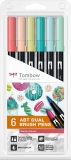 Marker caligrafic 2 in 1, ABT Dual Brush Pen, Candy Colours, 6 culori/set Tombow