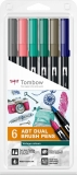 Marker caligrafic 2 in 1, ABT Dual Brush Pen, Vintage Colours, 6 culori/set Tombow