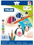 Creion color triunghiular 18 culori/set Milan