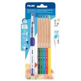 Creion color Acuarela 5 buc/set + pensula cu rezervor Milan
