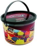 Galeata cu 4 borcanase de plastilina a cate 56 g si accesorii, Cars, AS Dough