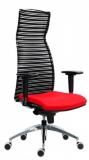 Scaun stofa rosu baza aluminiu brate reglabile spatar mesh Ergoflex Marilyn