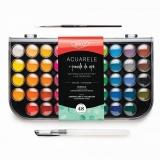 Acuarele si pensula cu rezervor, 48 culori/set Daco