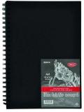 Bloc desen A4, hartie neagra, legat cu spira, coperta tare, 140 g/mp, 30 file Daco