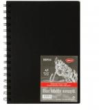 Bloc desen A5, hartie neagra, legat cu spira, coperta tare, 140 g/mp, 30 file Daco