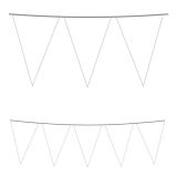 Ghirlanda Fanioane din plastic albe 5 m  x 25 cm Big Party