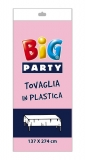 Fata de masa din plastic roz 137 x 274 cm Big Party