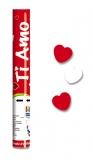 Tun confetti 30 cm inimioare albe/rosii Big Party