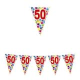 Ghirlanda Fanioane din plastic culori asortate 6 m  x 25 cm numarul 50 Big Party