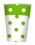 Pahare 200 ml pois verde 10 buc/set Big Party