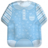 Farfurii 22 cm, forma tricou Baby Boy, albastru 8 buc/set Big Party