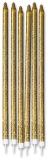 Lumanare Creion Glitterata Auriu 15 cm + suport 12 buc/set Big Party