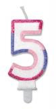 Lumanare numarul 5 Sweet Rosa Big Party