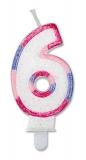 Lumanare numarul 6 Sweet Rosa Big Party