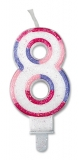 Lumanare numarul 8 Sweet Rosa Big Party