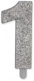 Lumanare argintie Glitter Numarul 1 Big Party