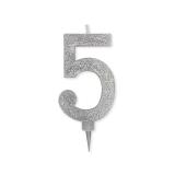Lumanare Maxi Glitterata 15 cm argintiu nr. 5 Big Party