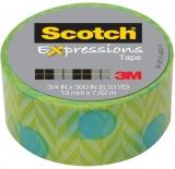 Banda adeziva decorativa Scotch 3M cercuri albastre pe fond verde