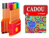Fineliner Color Parade 20 bucati/set Point 88 0.44mm + Carte de Colorat Stabilo