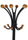 Cuier metalic negru cu suport pentru umbrela si elemente din lemn fag