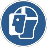 Marcaj autoadeziv pentru podea, Purtarea vizierei de protectie obligatorie, nepermanent, albastru Durable