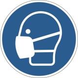 Marcaj autoadeziv pentru podea, Purtarea mastii de protectie obligatorie, nepermanent, albastru Durable