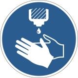 Marcaj autoadeziv pentru podea, Utilizarea dezinfectantului de maini obligatorie, nepermanent, albastru Durable