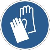 Marcaj autoadeziv pentru podea, Utilizarea manusilor de protectie obligatorie, nepermanent, albastru Durable