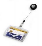 Suport card cu cablu retractabil 54 x 85 mm 10 buc/set Durable