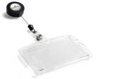 Ecuson dublu transparent cu snur retractabil 54 x 85 mm 10 buc/set Durable