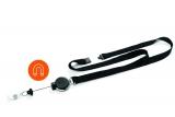 Dispozitiv cu snur retractabil pentru ecuson si snur textil de gat, Extra Strong, negru Durable