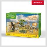 Puzzle 3D+Brosura-Animale Salbatice 69 Piese Cubicfun