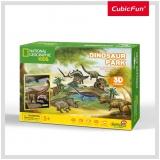Puzzle 3D+Brosura-Parcul Dinozaurilor 43 Piese Cubicfun