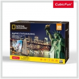 Puzzle 3D+Brosura-Empire State Building 66 Piese Cubicfun