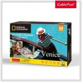 Puzzle 3D+Brosura-Piata San Marco 107 Piese Cubicfun