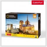 Puzzle 3D+Brosura-Notre Dame Paris 128 Piese Cubicfun