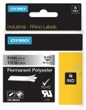 Banda ID1 polyester permanent 6 mm x 5.5 m negru-metalizat Dymo