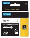 Banda ID1 polyester permanent 6 mm x 5.5 m negru-alb Dymo