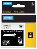 Banda ID1 polyester permanent 12 mm x 5.5 m negru-alb Dymo